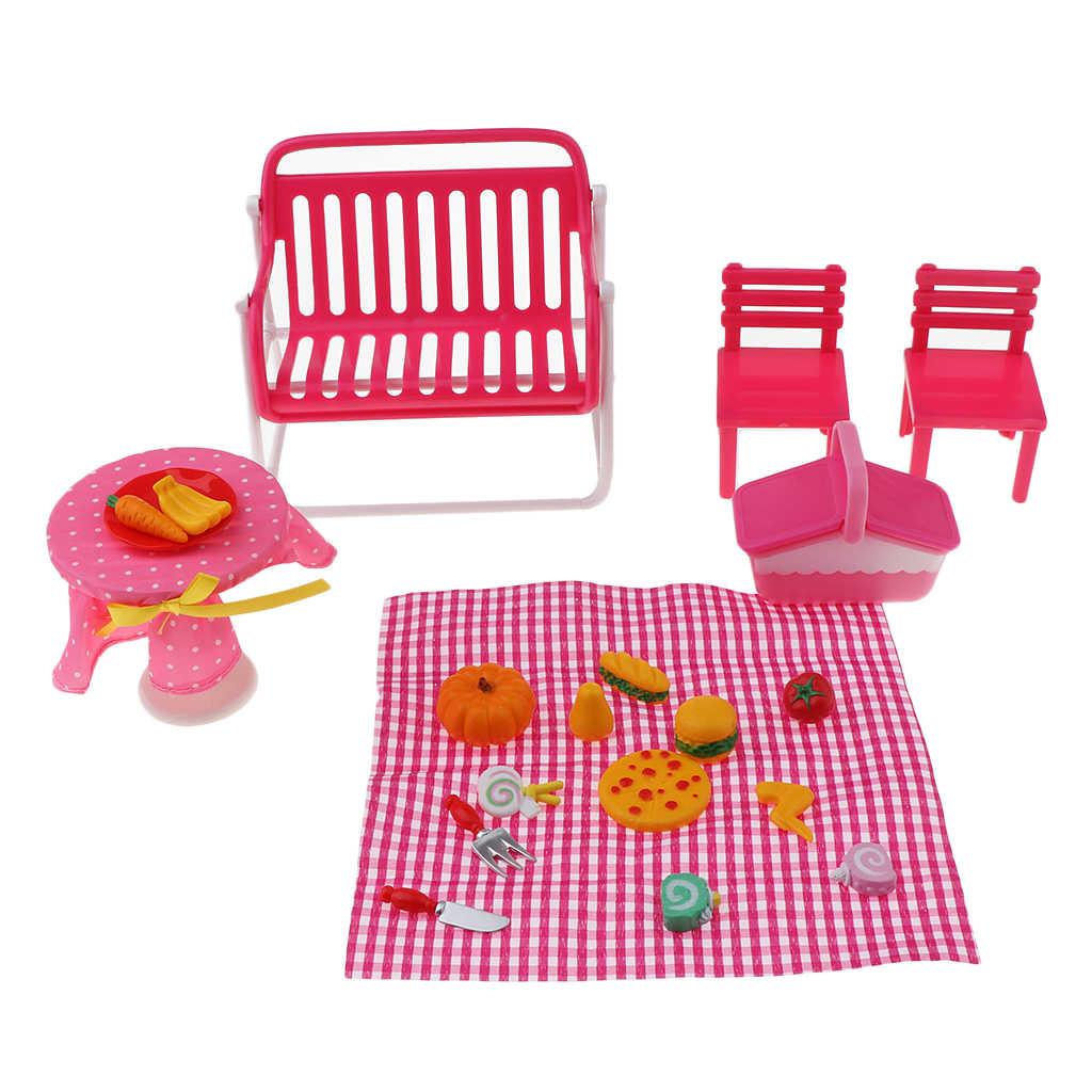Moda Acessórios Da Boneca Móveis de Plástico Crianças Brinquedos Brincar de Casinha Alimentos de Piquenique Conjunto com Acessórios para 1/6 de Casa De Bonecas Em Miniatura