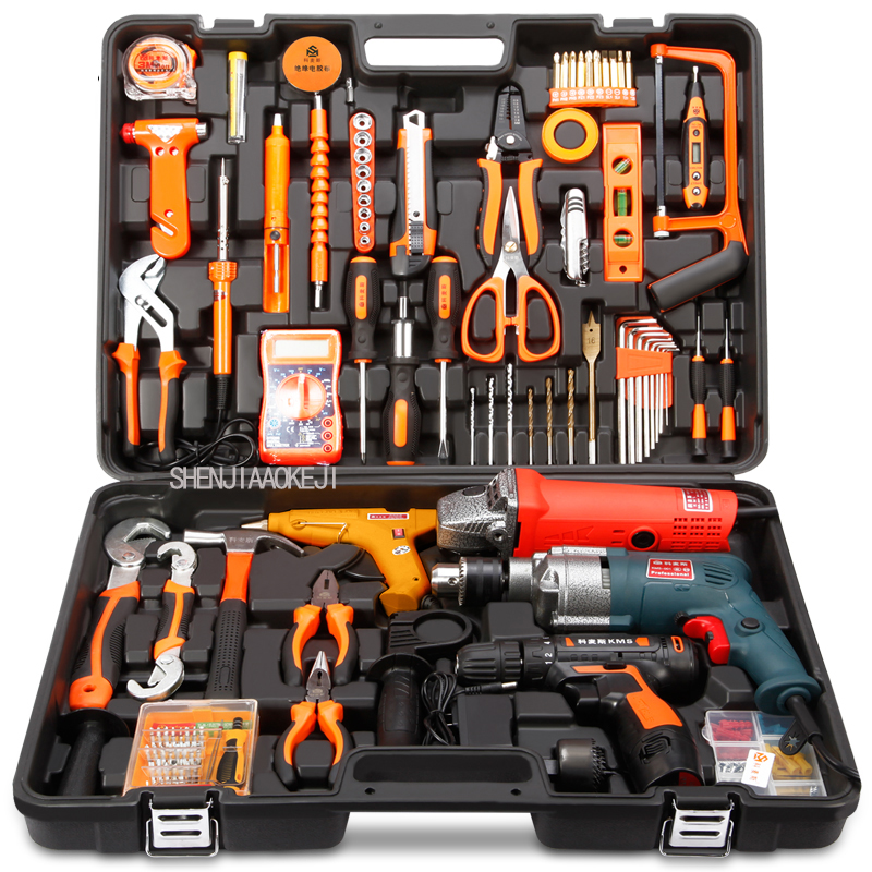 1pc Household tools package Hardware set Electric drill home electrician maintenance Multi-functional portable hardware tools 88pcs 500w impact electric drill household utility tool set multi functional hardware maintenance toolbox repair tool