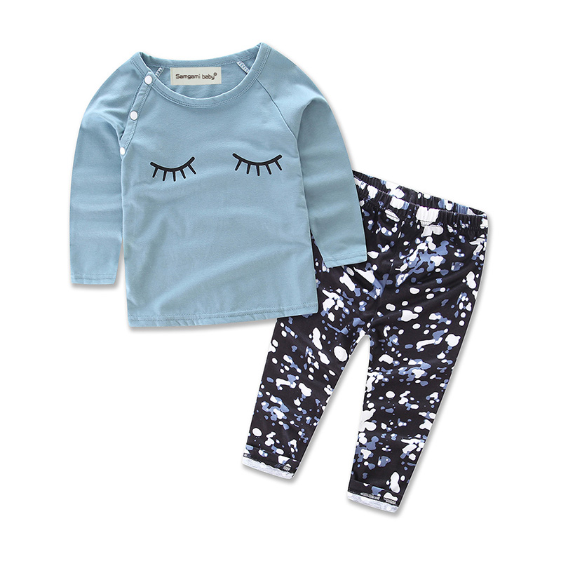 1-3Y 2018 Eye lashes t-shirt Girls Clothing 2pcs cotton set baby girl casual long-sleeve ...