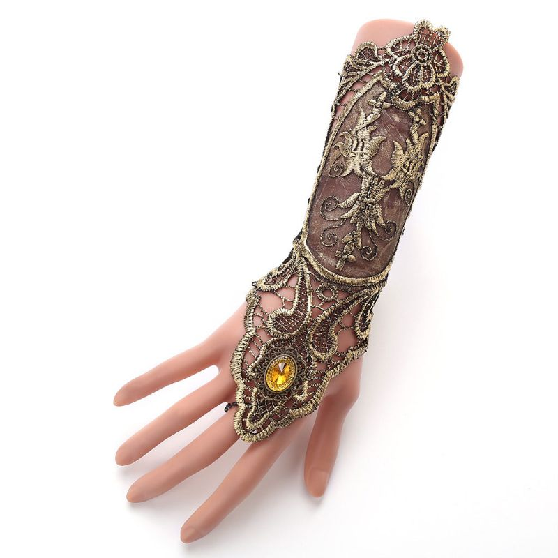 Women Retro Flapper Glove Hollowed Out Embroidered Lace Fingerless Gloves Criss Cross Lace Up Steampunk Jewelry Wristband