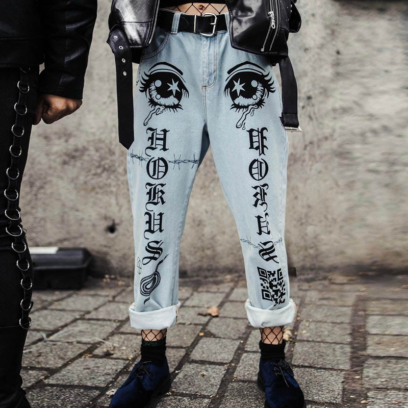 ZHYMIHRET Fashion Big Eyes And Letter Print Boyfriend   Jeans   Women Straight Denim Trousers Femme Taille Haute Loose Streetwear