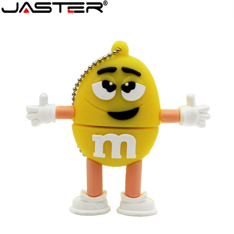 JASTER Cartoon M Beans Pendrive Memory Stick USB2.0 4GB 8GB 16GB 32GB 64GB Flash Pen Drive Chocolate M Beans U Disk Flash Disk