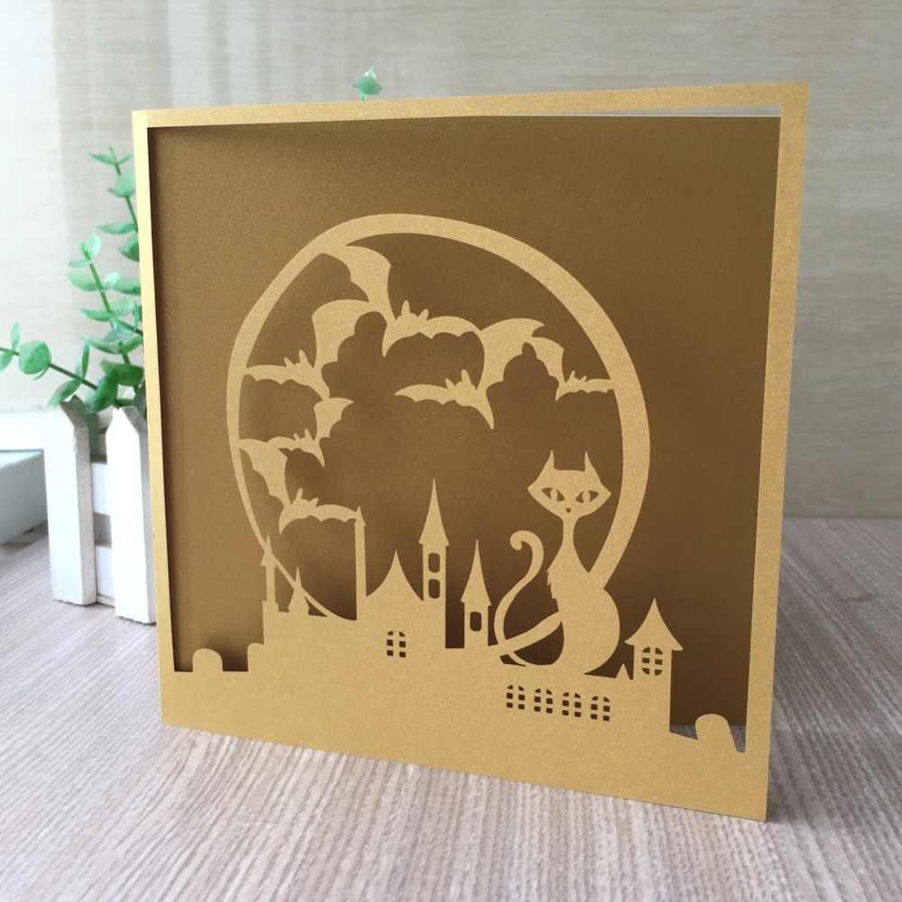 25 pièces Chic Laser découpé Initations carte carte de voeux fête d'anniversaire Invitations joyeux Halloween célébration