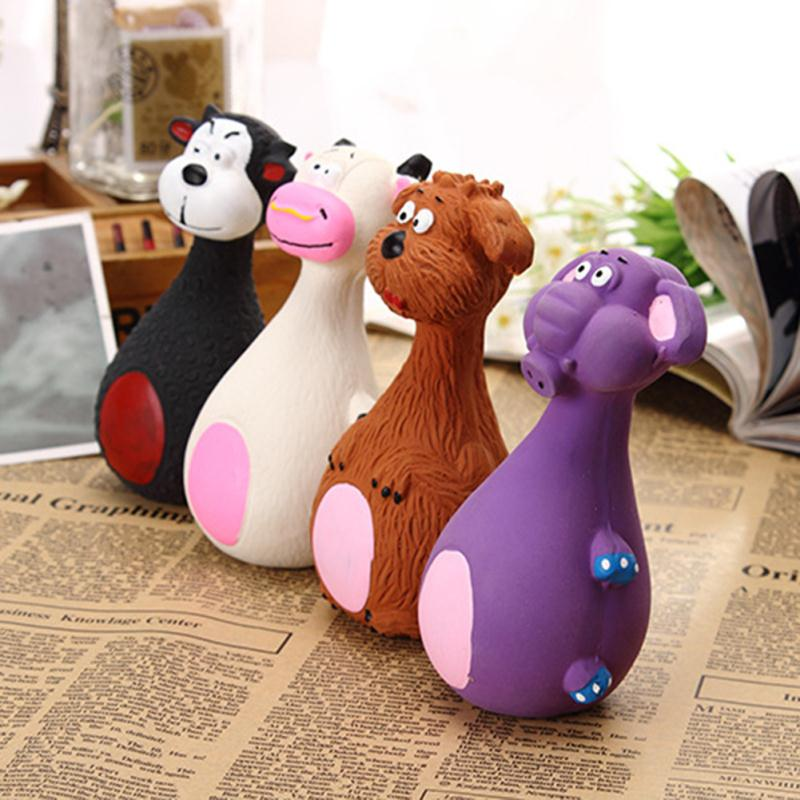 Pet Puppy Latex Chew Squeaky Sound Cow Elephant Dog Ball Playing Toys Animals Shape Squeaker VoiceTraining Tools 3 Colors