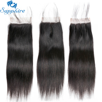 Sapphire Hair 4 X 4 Brazilian Closure Straight Human Hair Free Middle Three Part Lace Closure