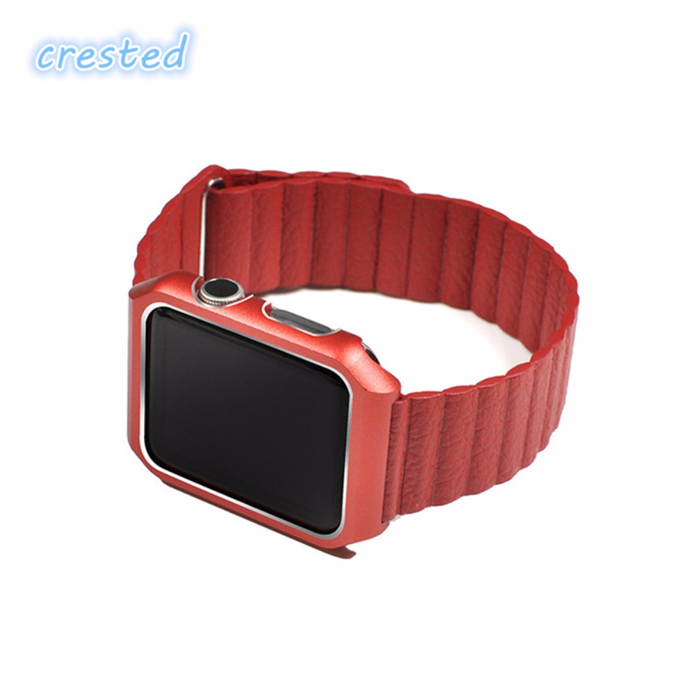 CRESTED Leather Loop band for apple watch 42mm 38mm & Stainless Steel Metal Case  Magnetic Leather Band for iWatch 1 2 3 band watchbands soft leather loop band for apple watch 38mm 42mm strap adjustable magnetic closure loop watchbands for iwatch sport