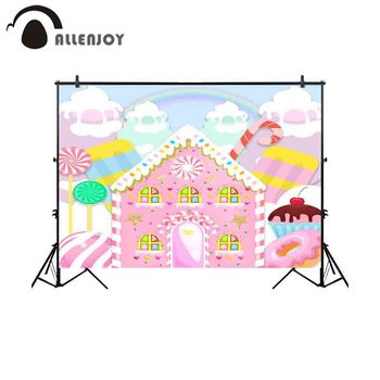 Allenjoy photography backdrop candy bar house donut rainbow ice cream background photocall photo shoot studio photobooth - discount item  28% OFF Camera & Photo