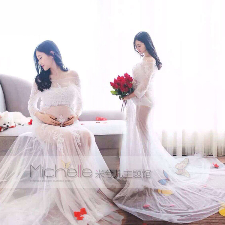 New pregnant women Maternity Photography Props Long Dress Pregnancy noble Fashion costume Personal photo Fancy clothing maternity pregnant women photography fashion props long dress white romatic see through personal portrait nightdress size s l
