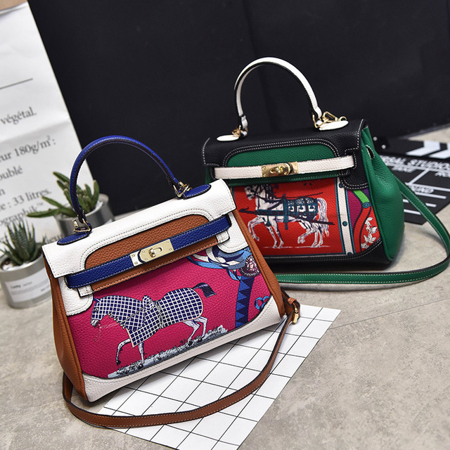 b177ab106faf Women Bag Crossbody Shoulder Women Messenger Bags Paint Horse Bag Luxury  Brand PU Leather Handbag Patchwork