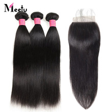 Meetu Malaysian Straight Hair Bundles with Closure 3 Bundles with Closure Non Remy Human Hair Bundles with Closure 4x4 inch