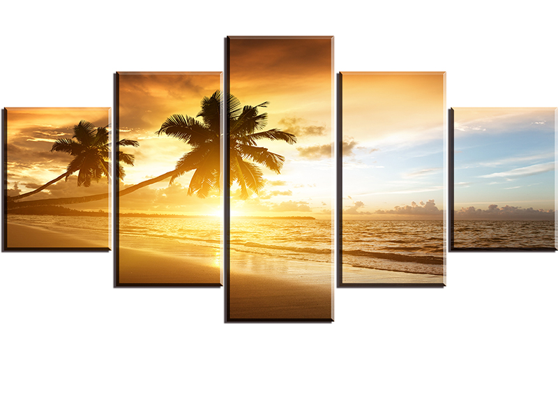 Free Shipping Sunset Beach and Coconut Landscape Art Painting Printed Home Decoration Printed Canvas