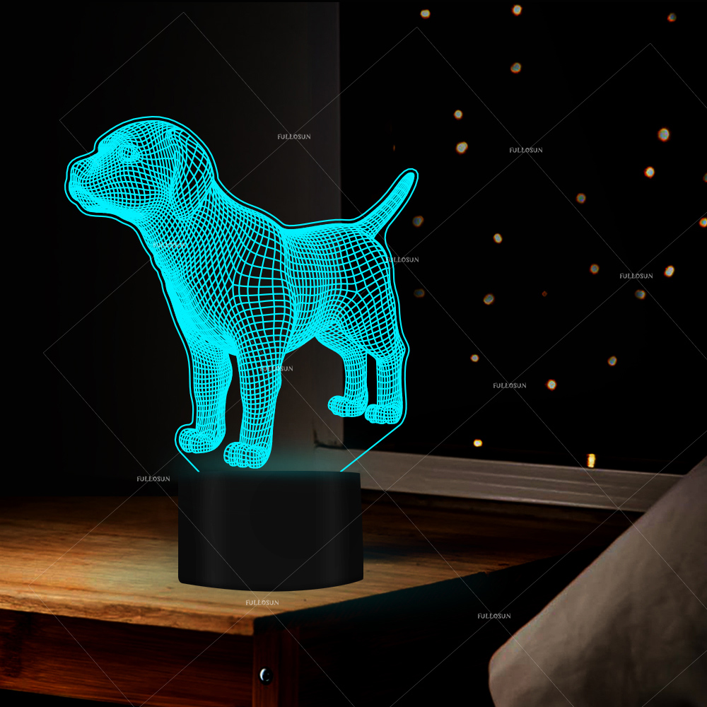 <font><b>DOG</b></font> designs illusion <font><b>table</b></font> <font><b>lamp</b></font> led 7 Changing Colors <font><b>dog</b></font> bed decor <font><b>table</b></font> light touch switch USB cable image