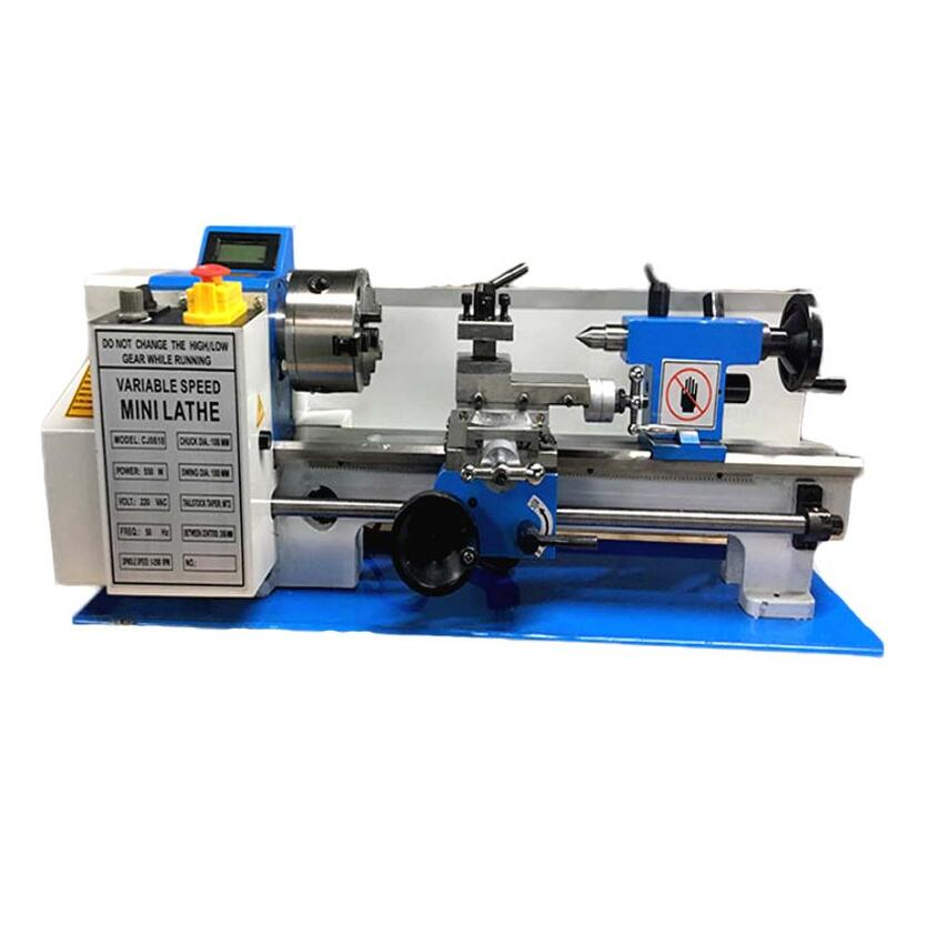 220v 550W  Variable-Speed Mini Metal Lathe Bench Top Digital  RPMSmall lathe speedless lathe 180 *305MM