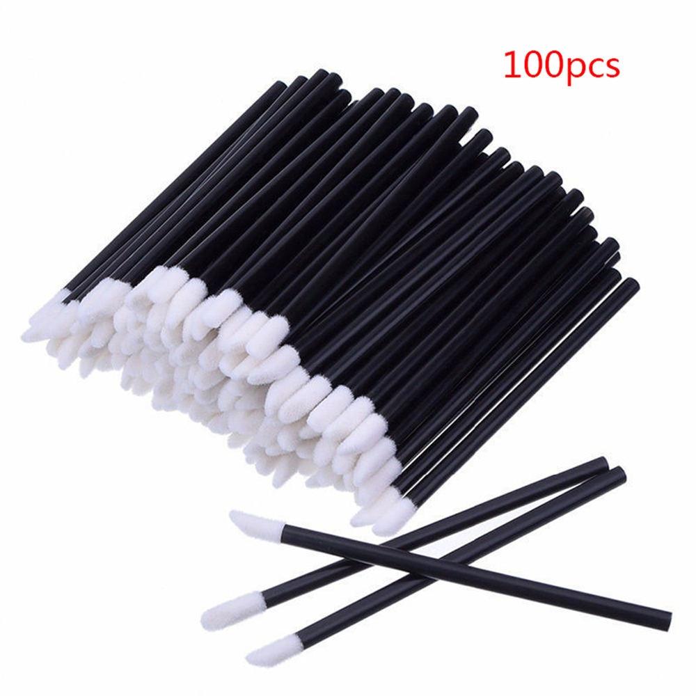 100Pcs Disposable Lip Brush Gloss Lipstick Wands Eye Shadow Applicator Makeup Brush Cosmetic Tool