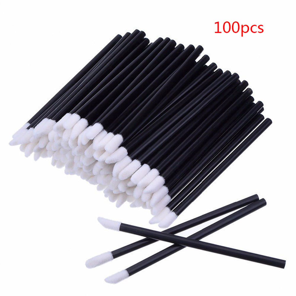 100Pcs Disposable Lip Brush Gloss Lipstick Wands <font><b>Eye</b></font> <font><b>Shadow</b></font> <font><b>Applicator</b></font> Makeup Brush Cosmetic Tool image