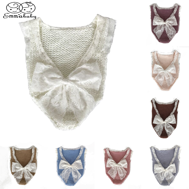 все цены на Emmababy Cute Newborn Baby Sleeveless Romper Jumpsuit Girls Lace Knitting Photo Photography Prop Costume