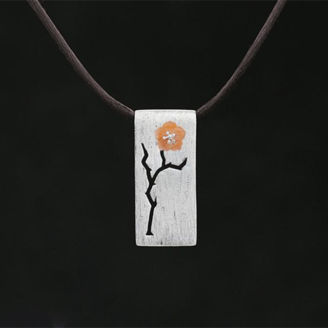 Genuíno 925 Prata Pingente de Colar Artesanal Elaborada Mulheres Jóias Exclusive Design Elegante Flor Shell Natural