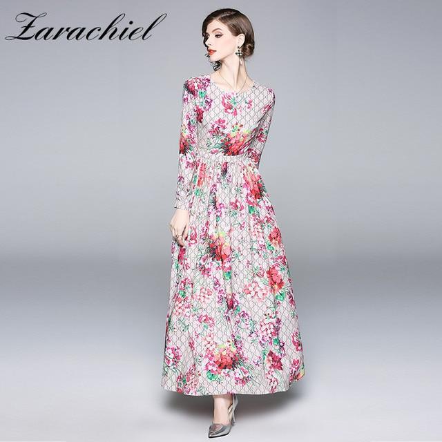 c54745405d5e Fashion Designer Runway Maxi Dress 2018 Fall Women s Long Sleeve Flower  Print Plaid Long Dress Elegant Casual Pink Floral Dress
