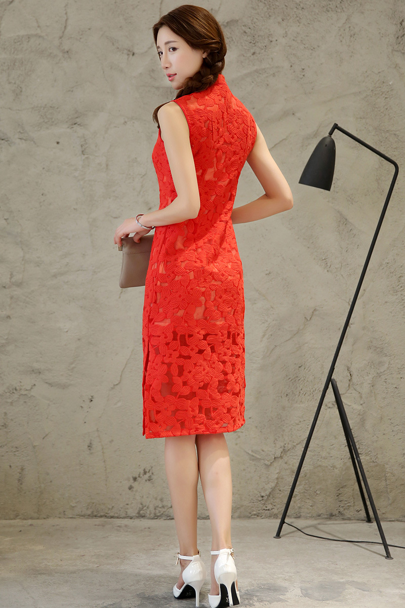 Nylon Chinoise Sans Manches Femmes Coton Mince Cheongsam Main Qipao Rouge Robe Bouton Red Floral xl S Formelle Sexy Longue Vintage YP0qSnaS