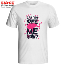Can You See Me Now T-shirt Funny Motto Design Elephant Novelty Pop Punk T Shirt Anime Active Women Men Top Tee