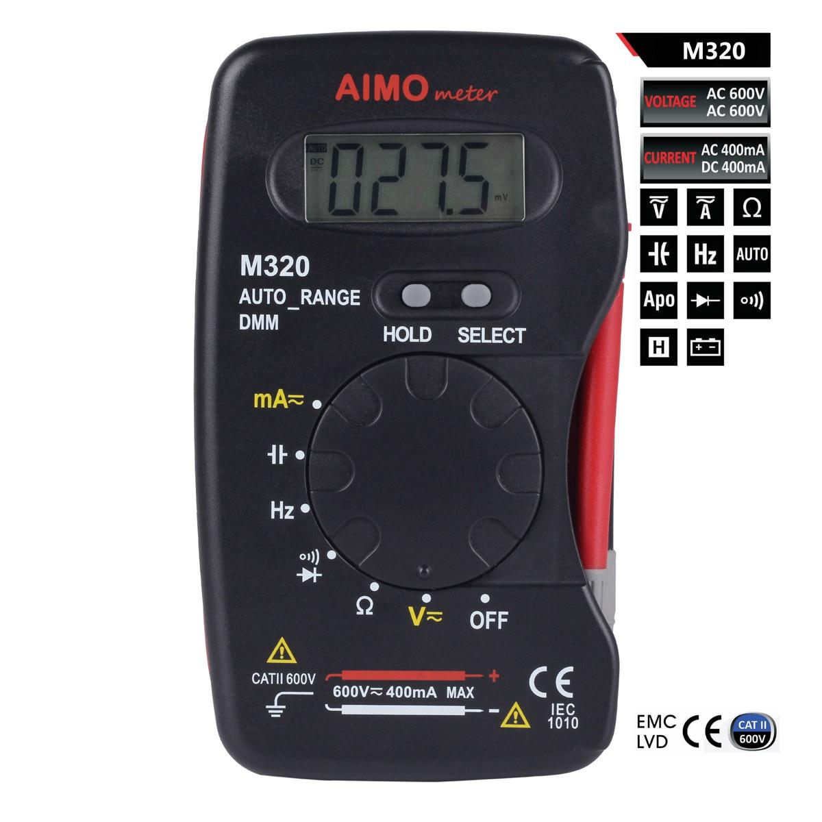 M108 aimo m320 карманные мини Ручной ЖК-дисплей цифровой мультиметр DMM измерения частоты емкость с удержания данных Авто Диапазон