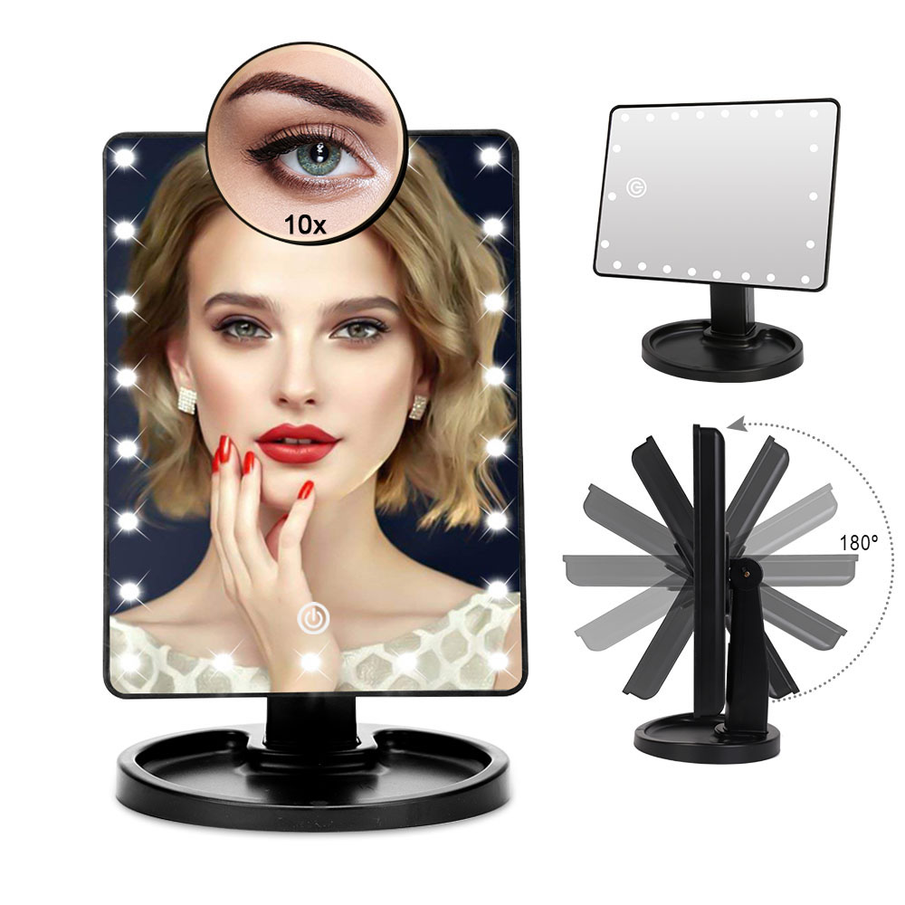 16/22 LED Lights Touch Screen Makeup Mirror 1X 10X Table Desktop Countertop Bright Adjustable USB Cable Or Batteries Use Tools