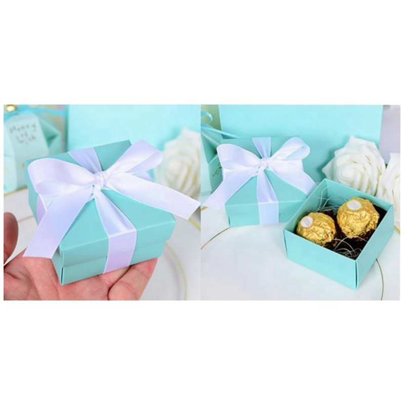 100 Pcs Tiffany Blue Candy Box Wedding Favor Boxes Tiffany Blue