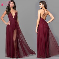 Simple Style A Line V Neck Chiffon Burgundy Bridesmaid Dresses Backless V Neck Bridesmaids Gown JQ237