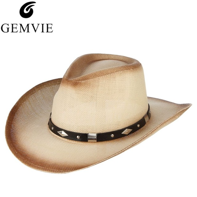 b176db3a US $9.36 22% OFF|New Trendy Men Wide Brim Straw Hat With Belt Vintage  Cowboy Cap Male Beach Summer Sun Caps Panama-in Cowboy Hats from Apparel ...