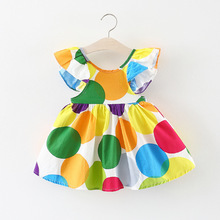 baby girl dress baby clothes o-neck Dot printing lotus leaf sleeve miniskirt baby girls dresses party and first birthday