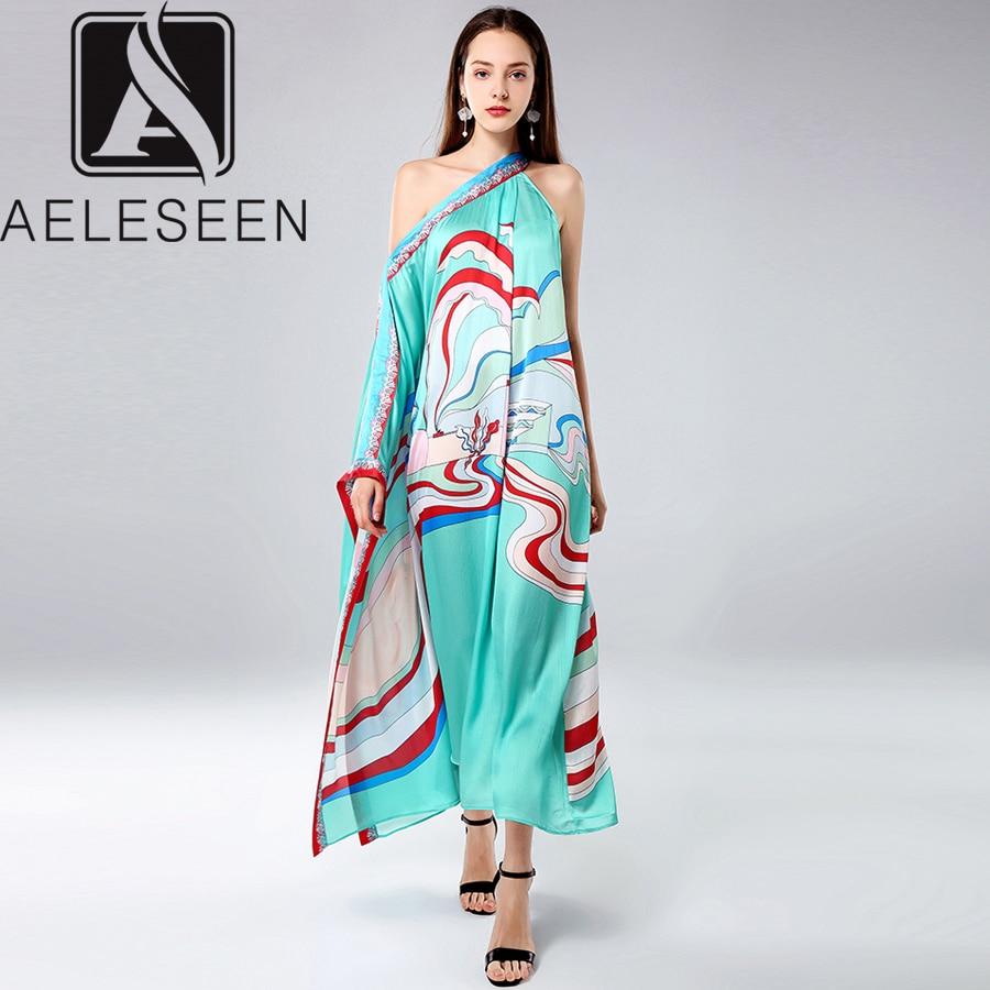 AELESEEN Fashion Designer Runway Dress 2019 Spring Summer Women s One Shoulder Batwing Sleeve Abstract Print