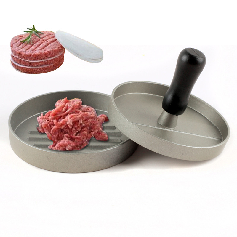 Delidge 1 Set Round Shape Hamburger Press Aluminum Alloy 11 cm Hamburger Meat Beef Grill Burger Press Patty Maker Mold