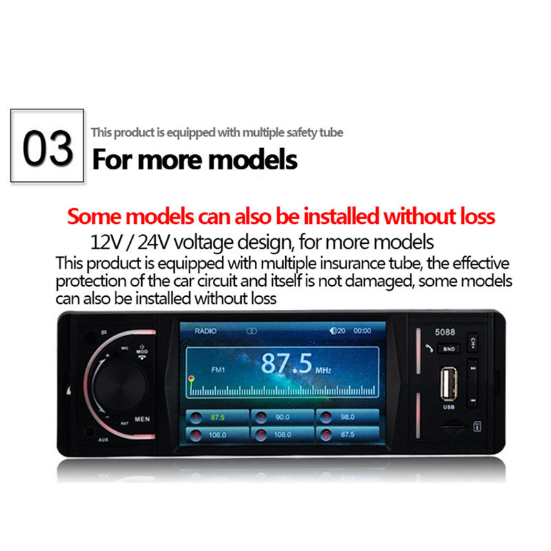 DC12V 4.1 inch TFT LCD displayCar Bluetooth Player Car MP5 Player U Disk Reversing Video Priority Radio MP5-5088 Memory Playback