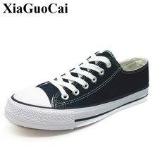 Классика Мужская парусиновая обувь летние унисекс черный и белый универсальные Кружева на шнуровке Повседневная обувь Low-cut дышащая Студенческая обувь на плоской подошве H28435
