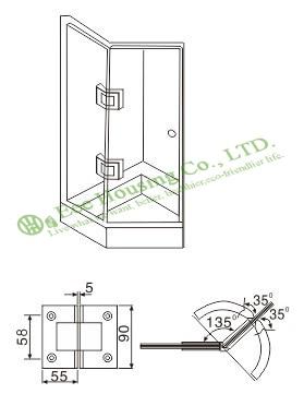 Stainless Steel Glass clip For Glass Door, 135 Degree Shower Door Hinge, Bathroom Glass Door hinge, Satin finished Glass clamp - 2