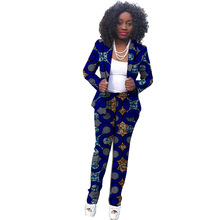 African Fashion print women pant suits elegant dashiki patterns Ankara blazer with trouser for ladies