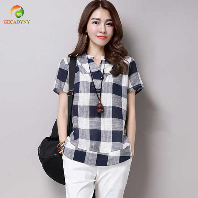 6cf395e9e48 Summer Casual Linen Cotton Short Sleeve T-Shirt Women Vintage Plaid Loose Tops  Tees V Neck T Shirts Ladies Plus Size M-4XL
