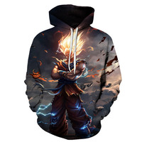 cosplay Men 3D Black Jackets Dragon Ball Z/Harley Quinn Super Saiyan 2 Son Goku Print Spring Autumn Loose Hooded Sweater costume