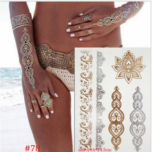 s Temporary Tattoo Gold Tattoo Sex Products Necklace Bracelet Tattoo Metal Women Flash Metallic Gold Silver Tattoos