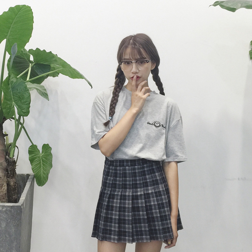 Women Plaid Skirt Lolita Style Empire Kawaii Sweet Above Knee Skirts A Line Mini Cute School Uniforms Saia Faldas Ladies Jupe