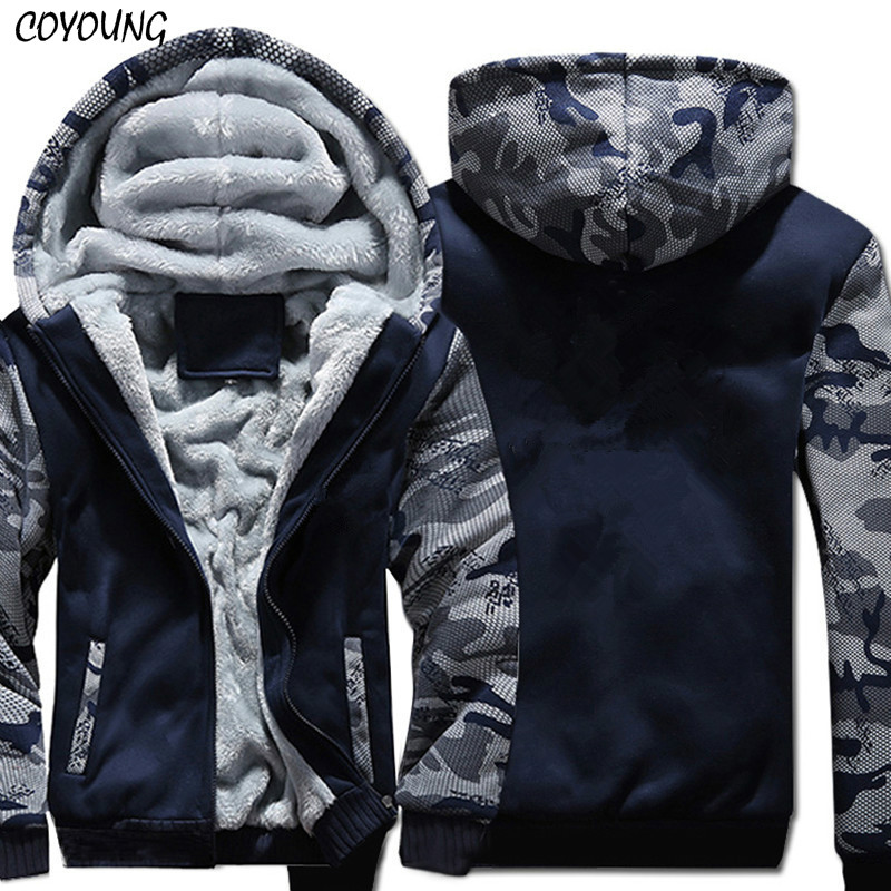 Tamaño de EE. UU. Super caliente sudaderas con capucha de invierno espesar Fleece camuflaje chaquetas de los hombres con cremallera con capucha abrigos ropa nueva