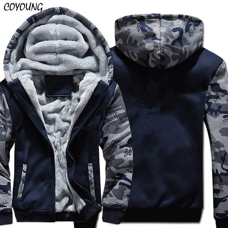 USA TAILLE Super Chaud Hoodies Sweatshirts Hiver Épaissir Polaire Vestes de Camouflage Hommes Zipper Capuche Manteaux Vêtements Nouveau