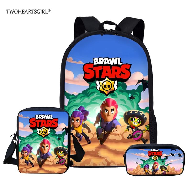 Twoheartsgirl Brawl Stars Backpacks For Boys Girls School Bag Set Gifts For Kids 3D School Bag Mochila School Backpacks For Fans