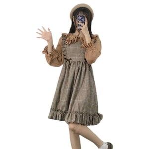 Image 5 - Herbst Frühling Frauen Vintage Kleid Japanischen Stil Ärmelloses Plaid Kleid Harajuku College Studenten Nette Kawaii Lolita Kleid