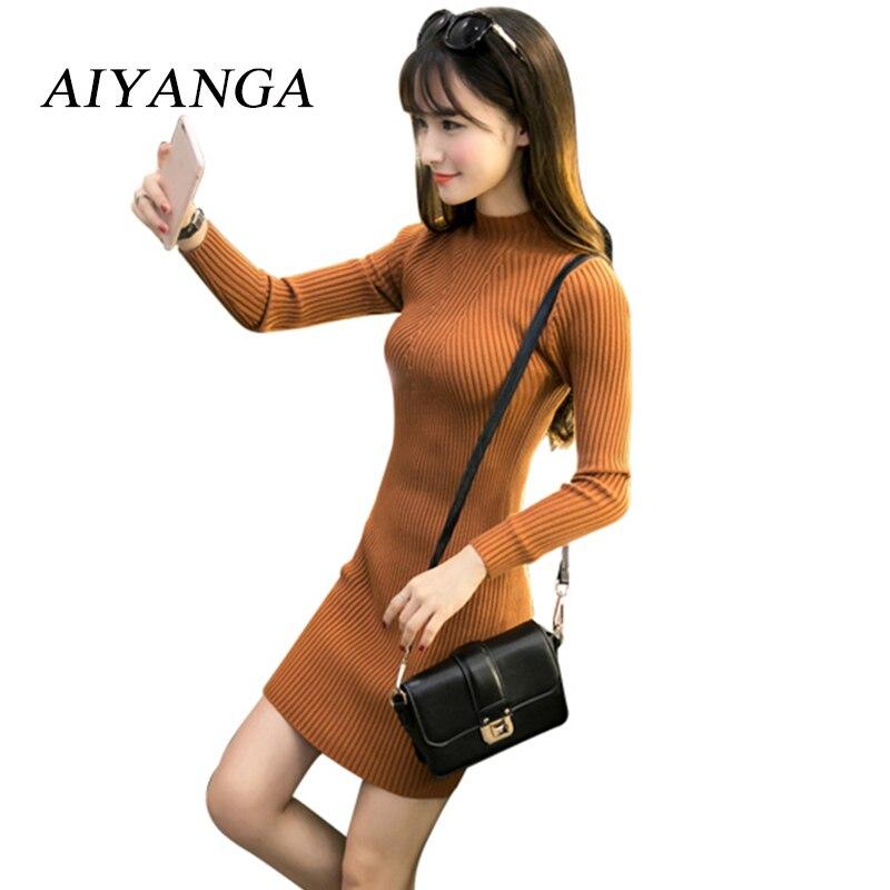 Cheap deal 2017 Autumn Women Knitted Dress Turtleneck Long Sleeve Knee-Length Sheath Dresses Solid Casual Winter Dress for woman floor length pocket turtleneck long sleeve dress