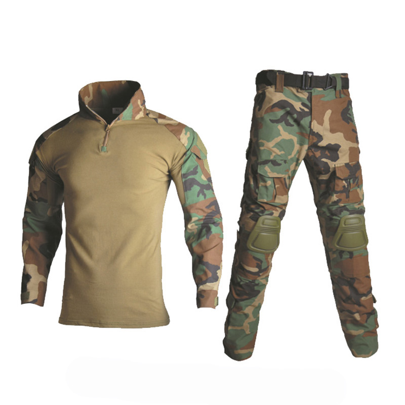 Woodland Camouflage Hunting Clothes Tactical Frog Set Military Uniform Combat Suit Airsoft Sniper Shirt + Pants Knee Elbow Pads