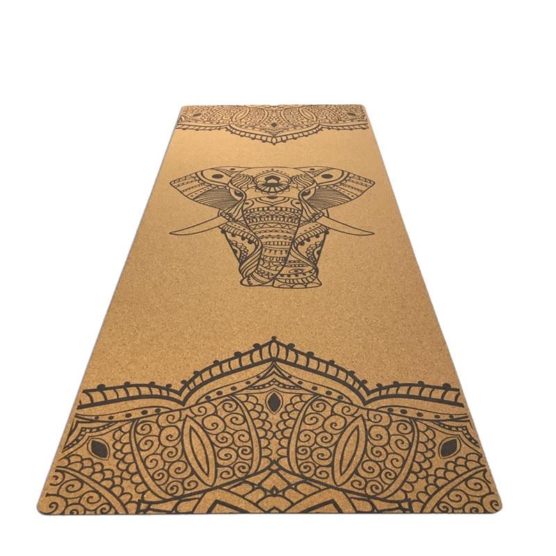 Comfortable cork exercise fitness mat Natural Rubber eco friendly slip resistant Hot Yoga best yoga mat Fitness rubber mat-in Yoga Mats from Sports & Entertainment    1