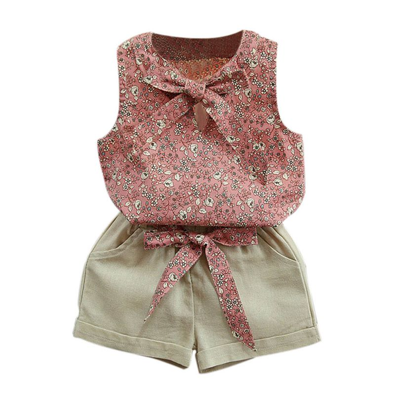 Kids Summer Baby Girl Clothes Girls Set Floral Bows + Shorts Two-piece Kids Suits Children Clothing Set