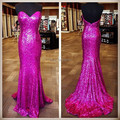 Custom Made Open Back Sweetheart Sequined Evening Dress Sexy Rose Red Mermaid Evening Dresses 2015 Real Image