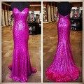 Por encargo espalda abierta Sweetheart vestido de noche con lentejuelas Sexy Rose Red sirena vestidos noche 2015 imagen Real